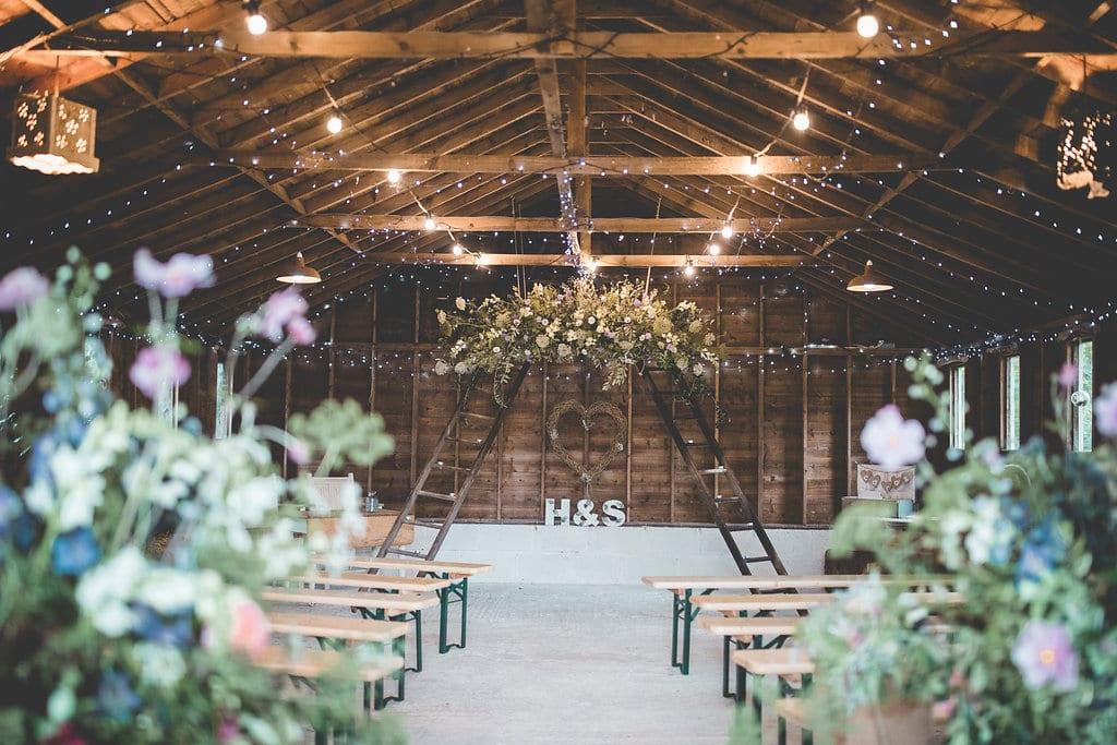 Holly and Sea barn ceremony decoration