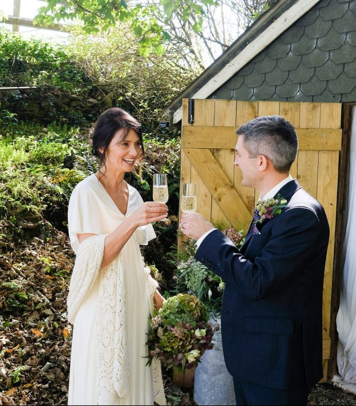 Lisa and Paul Champagne wedding toast