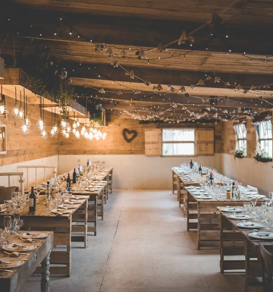 Rustic tables for wedding reception
