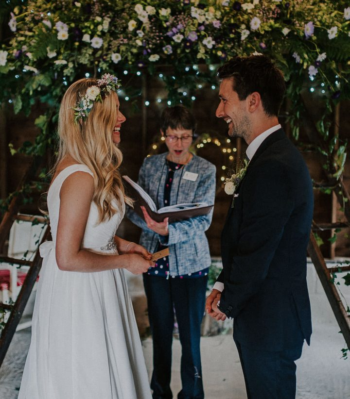 Victoria and Steve say their wedding vows at The Cow Shed