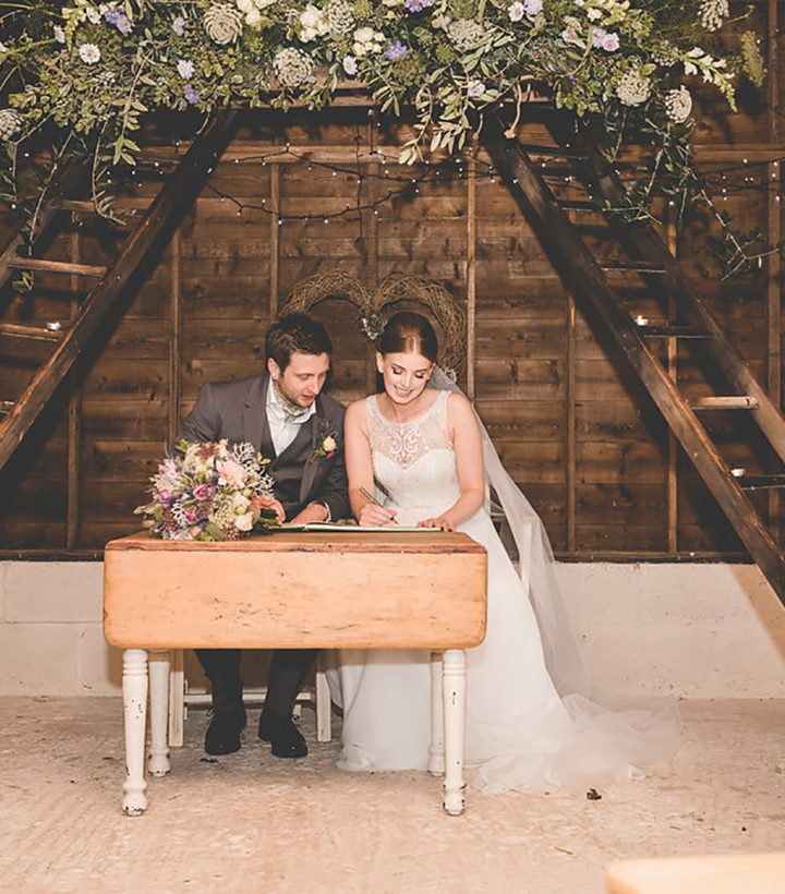 Holly and Sean get married at The Cow Shed in Cornwall